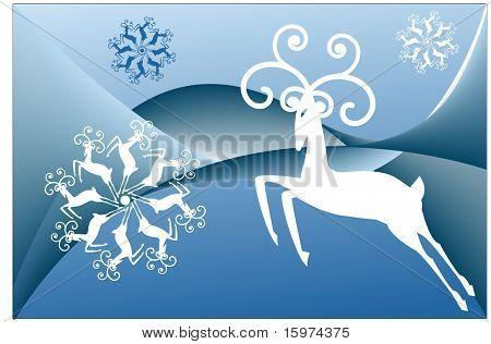 stylized reindeer and reindeer snowflakes vector