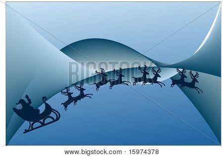 santa with reindeer on christmas night