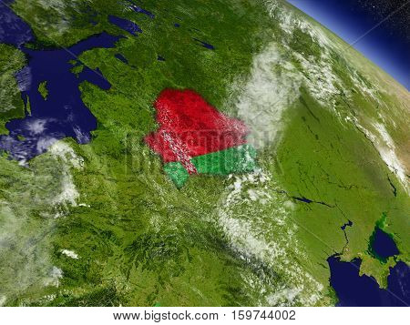 Belarus With Embedded Flag On Earth