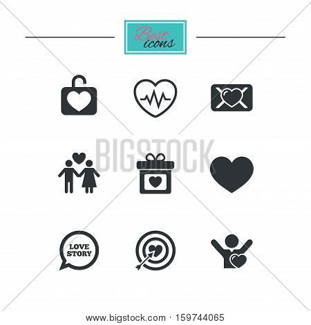 Love, valentine day icons. Target with heart, oath letter and locker symbols. Couple lovers, heartbeat signs. Black flat icons. Classic design. Vector