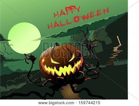 Evil pumpkin congratulates you with happy hallow