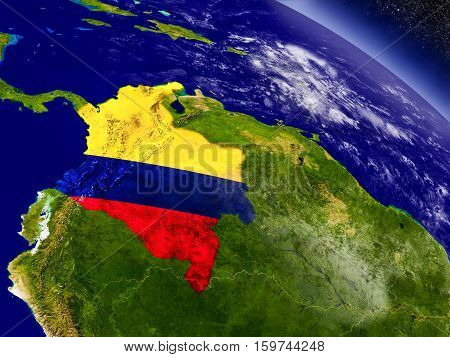 Colombia With Embedded Flag On Earth