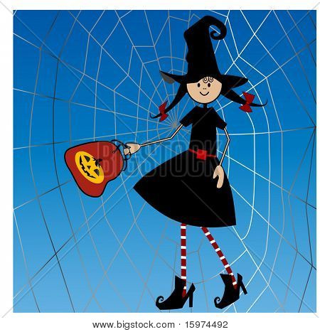 paige in witch outfit in front of spider web Happy Halloween