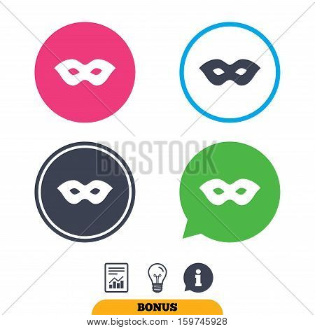 Mask sign icon. Anonymous spy access symbol. Report document, information sign and light bulb icons. Vector