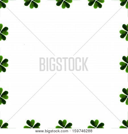 Illustration for luck spring design with shamrock. Green clover border frame isolated on white background. Watercolor green four-leaf clover background. St. Patrick Day template greeting card.