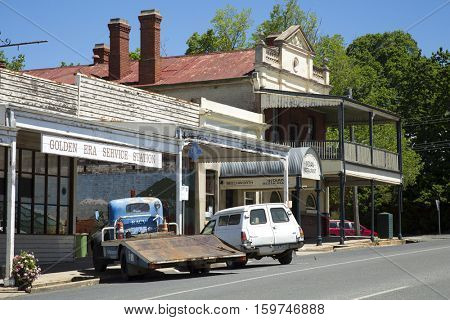 BEECHWORTH, AUSTRALIA - NOVEMBER 9, 2016:  Part of the city of beechworth well known for his gold rush time. Various gold rushes occurred in Australia over the second half of the 19th century.