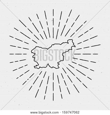 Retro Sunburst Hipster Design. Slovenia Map Surrounded By Vintage Sunburst Rays. Trendy Hand Drawn S