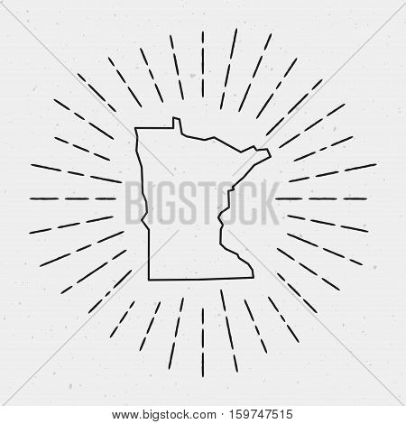 Vector Usa Map Outline With Retro Sunburst Border. Hand Drawn Hipster Decoration Element. Black Radi