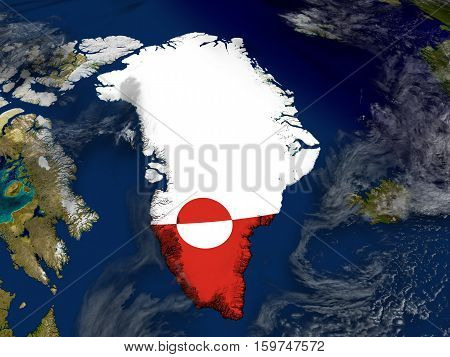 Greenland With Embedded Flag On Earth
