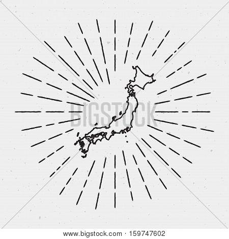 Retro Sunburst Hipster Design. Japan Map Surrounded By Vintage Sunburst Rays. Trendy Hand Drawn Sun