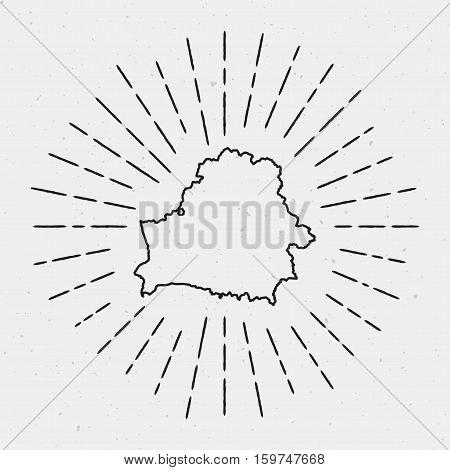 Retro Sunburst Hipster Design. Belarus Map Surrounded By Vintage Sunburst Rays. Trendy Hand Drawn Su