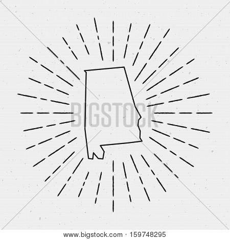Vector Alabama Map Outline With Retro Sunburst Border. Hand Drawn Hipster Decoration Element. Black
