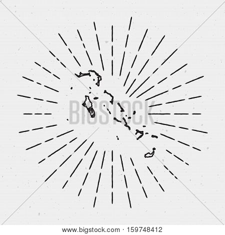 Retro Sunburst Hipster Design. Bahamas Map Surrounded By Vintage Sunburst Rays. Trendy Hand Drawn Su