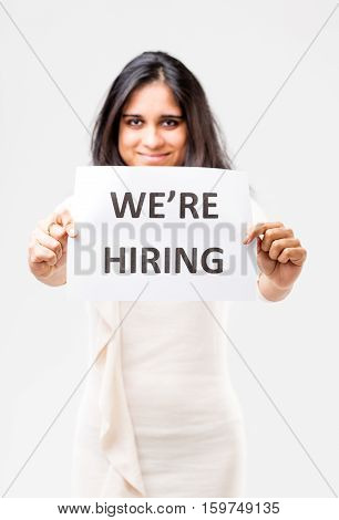 Indian Girl Holding A Hiring Sign