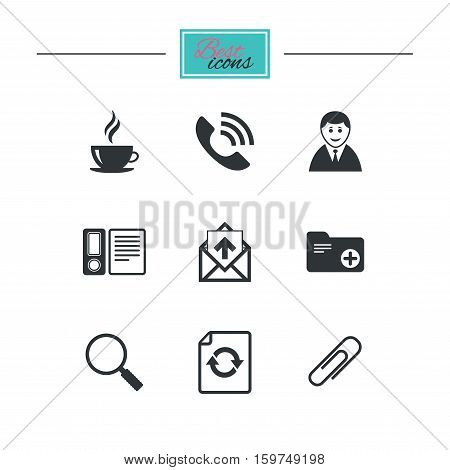 Office, documents and business icons. Coffee, phone call and businessman signs. Safety pin, magnifier and mail symbols. Black flat icons. Classic design. Vector