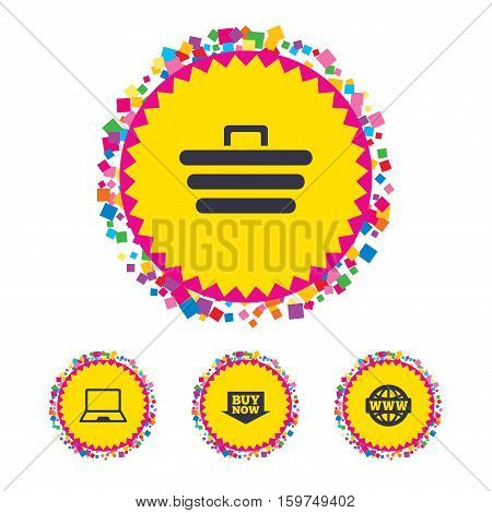 Web buttons with confetti pieces. Online shopping icons. Notebook pc, shopping cart, buy now arrow and internet signs. WWW globe symbol. Bright stylish design. Vector
