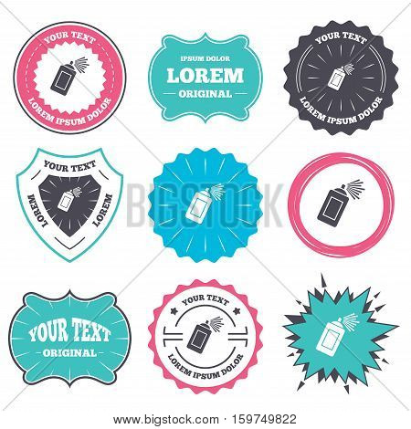 Label and badge templates. Graffiti spray can sign icon. Aerosol paint symbol. Retro style banners, emblems. Vector