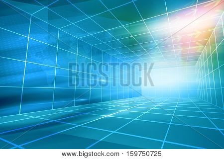 Futuristic Modern High tech Enclosed News Studio Background.