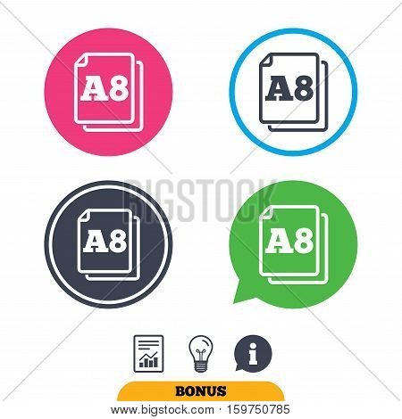 Paper size A8 standard icon. File document symbol. Report document, information sign and light bulb icons. Vector