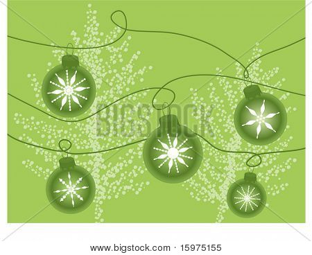 green baubles with  snowflakes and snowtree behind