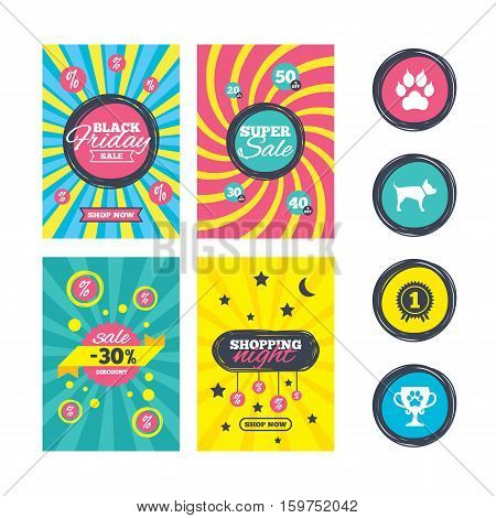 Sale website banner templates. Pets icons. Cat paw with clutches sign. Winner cup and medal symbol. Dog silhouette. Ads promotional material. Vector