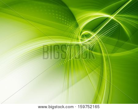 Abstract background element. Fractal graphics series. Three-dimensional composition of glowing lines and mosaic halftone effects. Information and energy concept. Green and white colors.