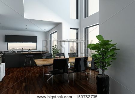 Modern design living room interior with a dining table at an orial with gallery indoor balcony, wooden parquet floor and oversized windows. 3d Rendering.