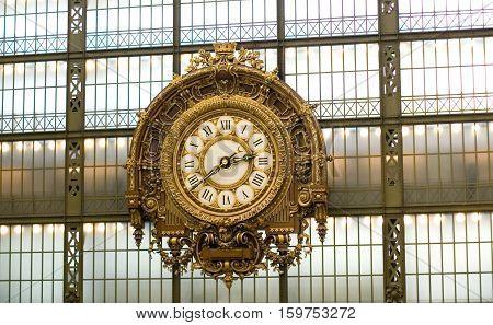 Clock in the Orsay museum Paris France
