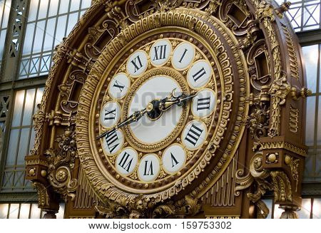 Closeup of the clock in the Orsay museum. Paris France