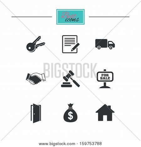 Real estate, auction icons. Handshake, for sale and money bag signs. Keys, delivery truck and door symbols. Black flat icons. Classic design. Vector