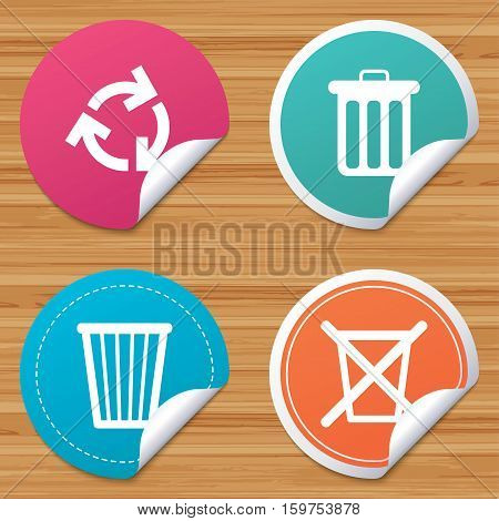 Round stickers or website banners. Recycle bin icons. Reuse or reduce symbols. Trash can and recycling signs. Circle badges with bended corner. Vector