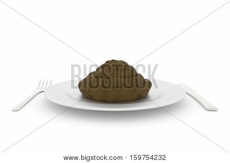 a 3D render of a pile of poo being served on a plate on a white background.