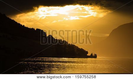 Red Sunset Over Sea Fjord Norway