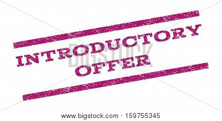 Introductory Offer watermark stamp. Text tag between parallel lines with grunge design style. Rubber seal stamp with unclean texture. Vector purple color ink imprint on a white background.