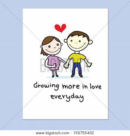 couple love with red heart hand drawn card
