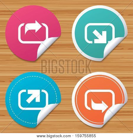 Round stickers or website banners. Action icons. Share symbols. Send forward arrow signs. Circle badges with bended corner. Vector