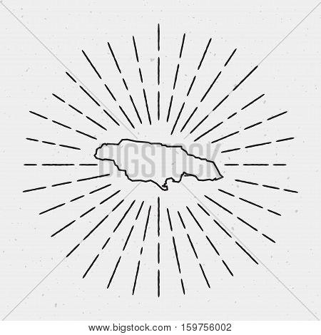 Retro Sunburst Hipster Design. Jamaica Map Surrounded By Vintage Sunburst Rays. Trendy Hand Drawn Su