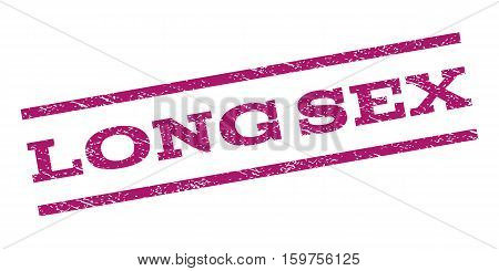 Long Sex watermark stamp. Text caption between parallel lines with grunge design style. Rubber seal stamp with unclean texture. Vector purple color ink imprint on a white background.