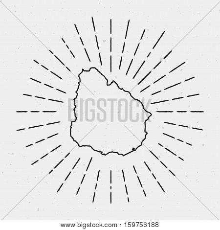 Retro Sunburst Hipster Design. Uruguay Map Surrounded By Vintage Sunburst Rays. Trendy Hand Drawn Su