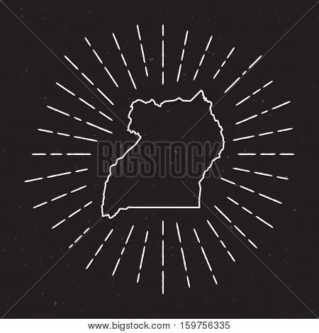 Uganda Vector Map Outline With Vintage Sunburst Border. Hand Drawn Map With Hipster Decoration Eleme