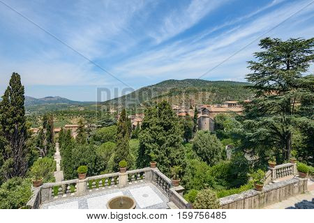 Wonderful landscape in Tivoli Italy with a nice blue sky