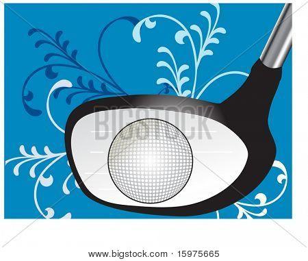 golf club ball and decorative grass