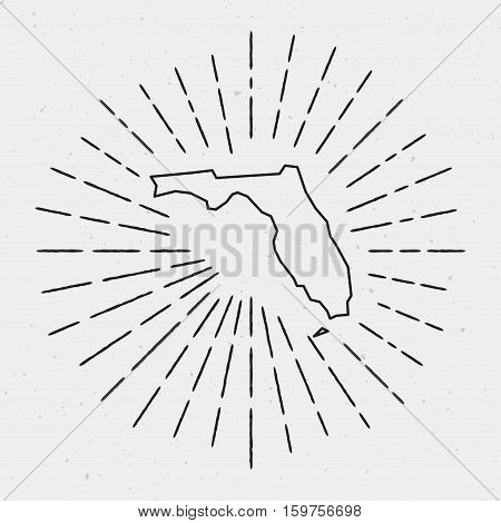 Retro Sunburst Hipster Design. Florida Map Surrounded By Vintage Sunburst Rays. Trendy Hand Drawn Su