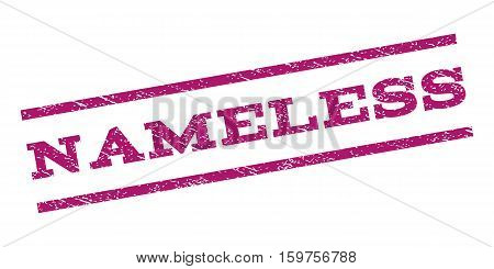 Nameless watermark stamp. Text caption between parallel lines with grunge design style. Rubber seal stamp with dirty texture. Vector purple color ink imprint on a white background.
