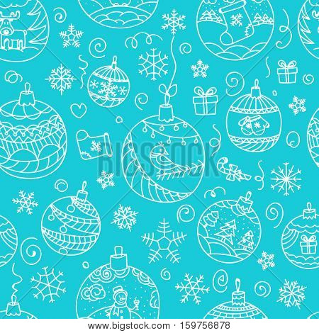 Christmas decorations seamless pattern. Merry Christmas and Happy New year