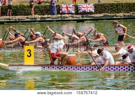 Rome Italy - July 30 2016: Dragon boat crews compete at the european championships held in Italy in 2016 summer in the photo the Polish and the Deutschland crew