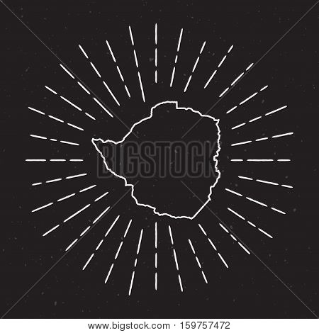 Zimbabwe Vector Map Outline With Vintage Sunburst Border. Hand Drawn Map With Hipster Decoration Ele