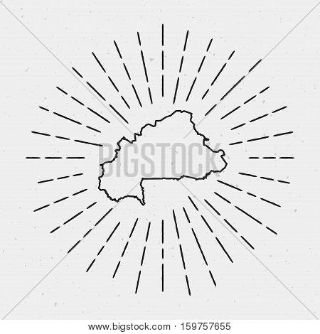 Vector Burkina Faso Map Outline With Retro Sunburst Border. Hand Drawn Hipster Decoration Element. B