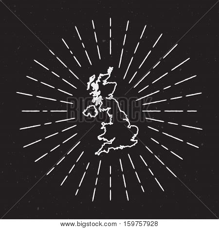 United Kingdom Vector Map Outline With Vintage Sunburst Border. Hand Drawn Map With Hipster Decorati