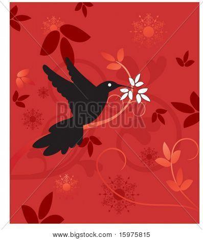hummingbird with foliage